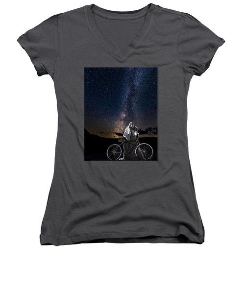 Ghost Rider Under The Milky Way. Women's V-Neck