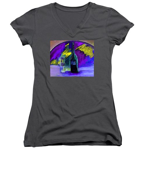Women's V-Neck T-Shirt (Junior Cut) featuring the painting Ghost Wine by Lisa Kaiser