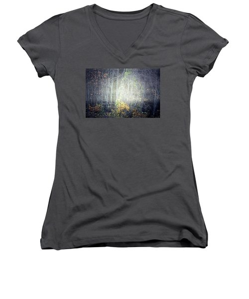 Women's V-Neck T-Shirt (Junior Cut) featuring the photograph Ghosts Of The Forest 2 by Tara Turner
