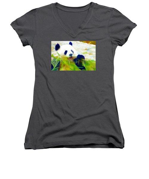 Giant Panda Bear Eating Bamboo Women's V-Neck T-Shirt (Junior Cut) by Lanjee Chee