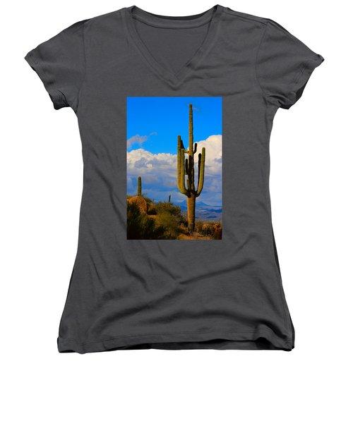 Giant Saguaro In The Southwest Desert  Women's V-Neck (Athletic Fit)