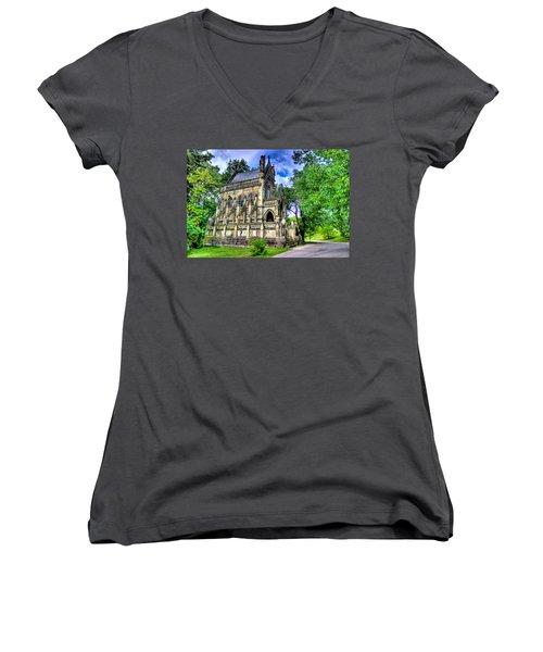 Giant Spring Grove Mausoleum Women's V-Neck T-Shirt (Junior Cut) by Jonny D