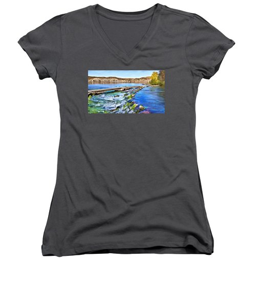 Giant Springs 3 Women's V-Neck T-Shirt (Junior Cut) by Susan Kinney
