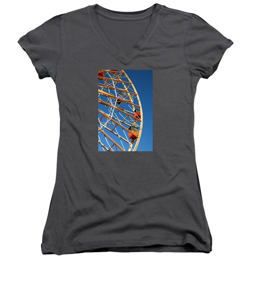 Women's V-Neck T-Shirt (Junior Cut) featuring the photograph Giant Wheel by James Kirkikis