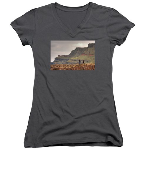 Women's V-Neck T-Shirt (Junior Cut) featuring the photograph Giants Causeway by Ian Middleton