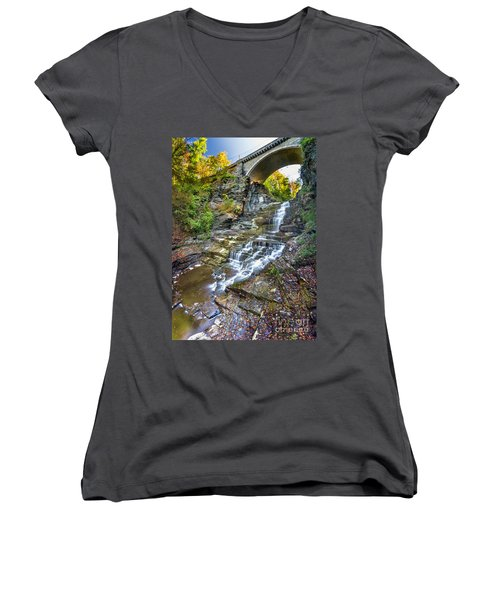 Giant's Staircase Under College Avenue Bridge Women's V-Neck (Athletic Fit)