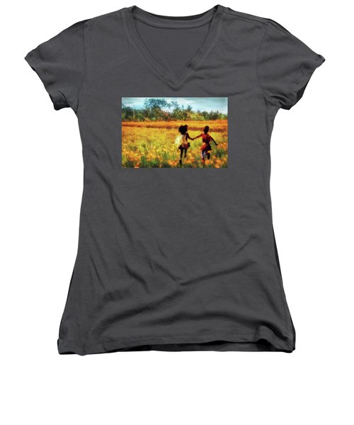 Gia's Field Of Dreams Women's V-Neck (Athletic Fit)