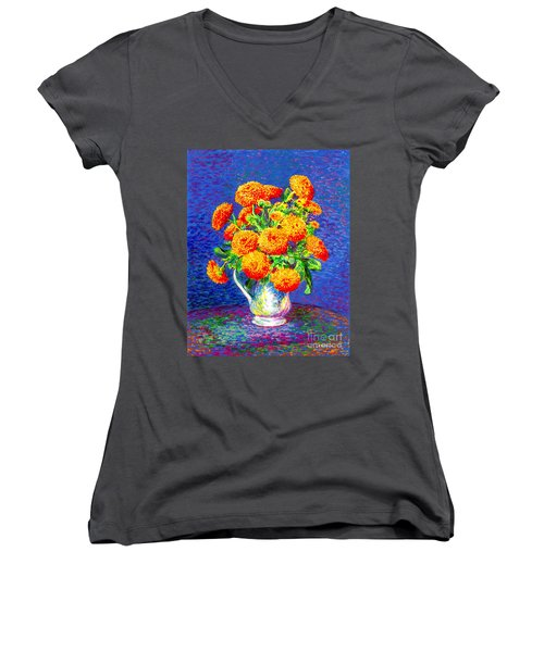 Women's V-Neck T-Shirt (Junior Cut) featuring the painting Gift Of Gold, Orange Flowers by Jane Small