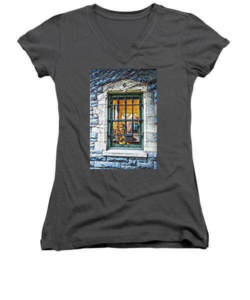 Gift Shop Window Women's V-Neck (Athletic Fit)