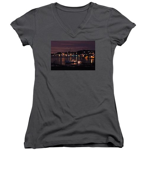 Gig Harbor At Night Women's V-Neck T-Shirt (Junior Cut) by Jack Moskovita