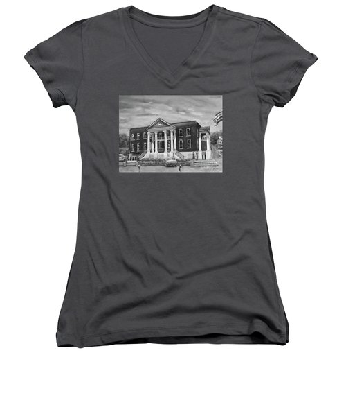 Gilmer County Old Courthouse - Black And White Women's V-Neck