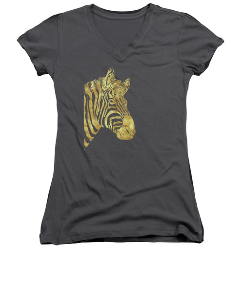 Gilt Zebra, African Wildlife, Wild Animal In Painted Gold Women's V-Neck T-Shirt (Junior Cut) by Tina Lavoie