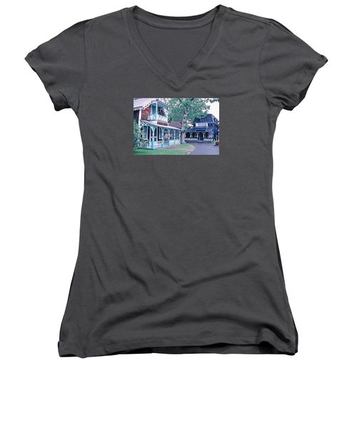 Women's V-Neck T-Shirt (Junior Cut) featuring the photograph Gingerbread Houses Oak Bluff Martha's Vineyard by Tom Wurl