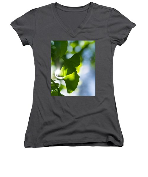 Gingko Leaves In The Sun Women's V-Neck (Athletic Fit)