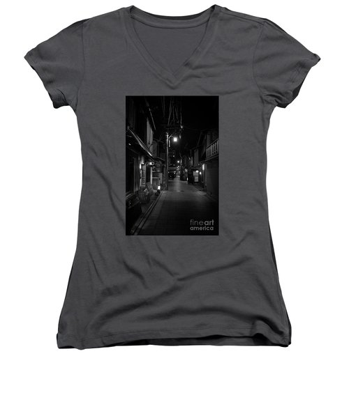 Gion Street Lights, Kyoto Japan Women's V-Neck T-Shirt