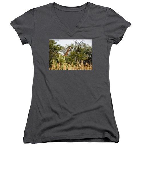 Giraffe Browsing Women's V-Neck T-Shirt
