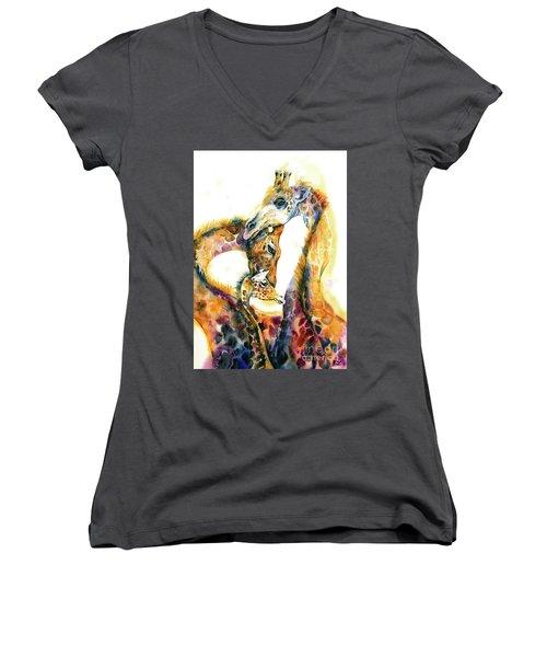 Giraffe Family Women's V-Neck