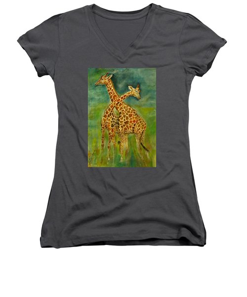 Lovely Giraffe . Women's V-Neck T-Shirt (Junior Cut) by Khalid Saeed