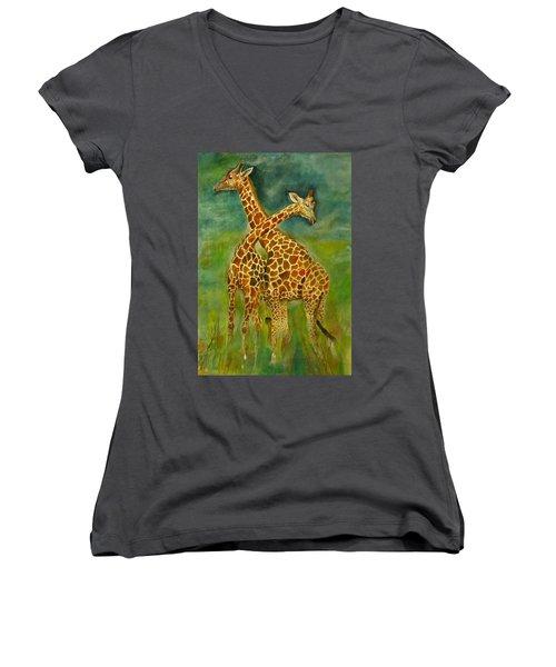 Lovely Giraffe . Women's V-Neck T-Shirt