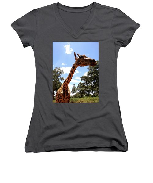 Giraffe Getting Personal 3 Women's V-Neck (Athletic Fit)