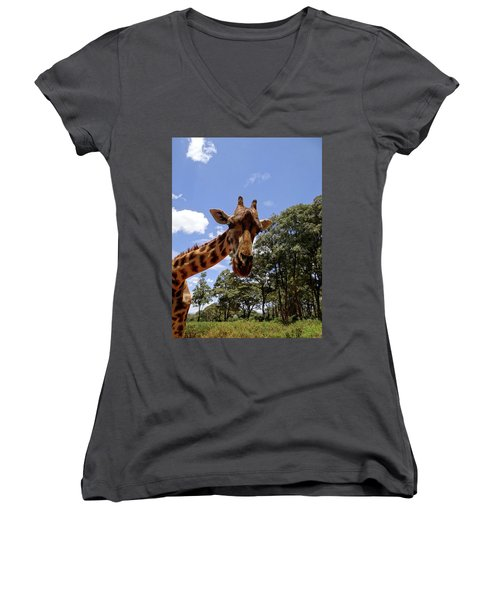 Giraffe Getting Personal 4 Women's V-Neck T-Shirt
