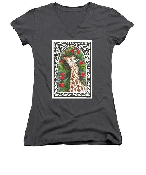 Giraffe In Archway Women's V-Neck T-Shirt