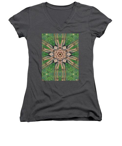 Giraffe Mandala II Women's V-Neck T-Shirt (Junior Cut) by Maria Watt