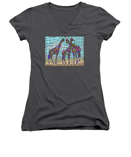 Giraffe Maze Women's V-Neck T-Shirt (Junior Cut) by Anthony Mwangi