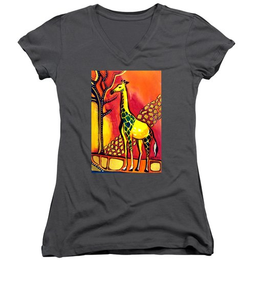 Women's V-Neck T-Shirt (Junior Cut) featuring the painting Giraffe With Fire  by Dora Hathazi Mendes