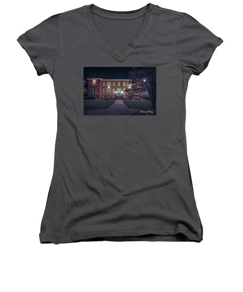 Girard Hall At Night Women's V-Neck T-Shirt