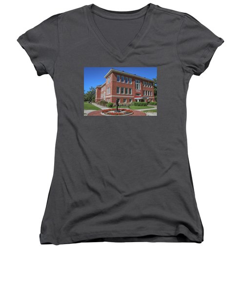 Women's V-Neck T-Shirt (Junior Cut) featuring the photograph Girard Hall Day Shot by Gregory Daley  PPSA