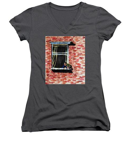 Girl At Window Women's V-Neck