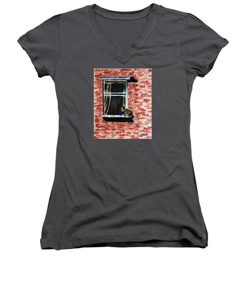 Girl At Window Women's V-Neck T-Shirt