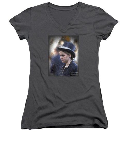 Women's V-Neck T-Shirt (Junior Cut) featuring the photograph Girl In A Dark Blue Hat by Elaine Teague