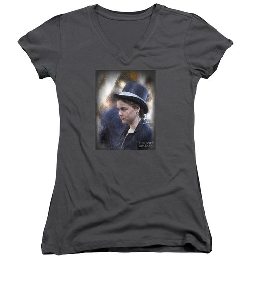 Girl In A Dark Blue Hat Women's V-Neck (Athletic Fit)