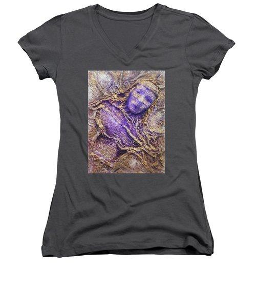 Girl In Purple Women's V-Neck T-Shirt (Junior Cut)