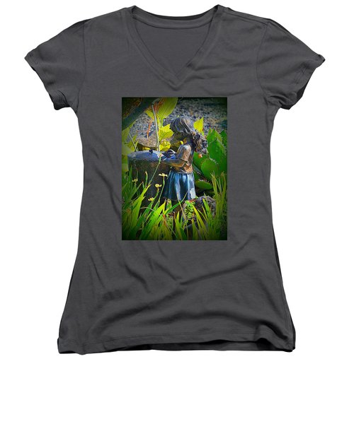 Women's V-Neck T-Shirt (Junior Cut) featuring the photograph Girl In The Garden by Lori Seaman