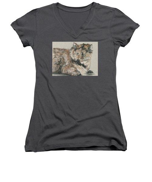 Women's V-Neck T-Shirt (Junior Cut) featuring the drawing Girl  by Meagan  Visser