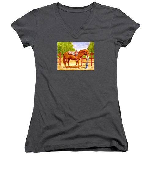Women's V-Neck T-Shirt (Junior Cut) featuring the painting Girl Talk by Stacy C Bottoms