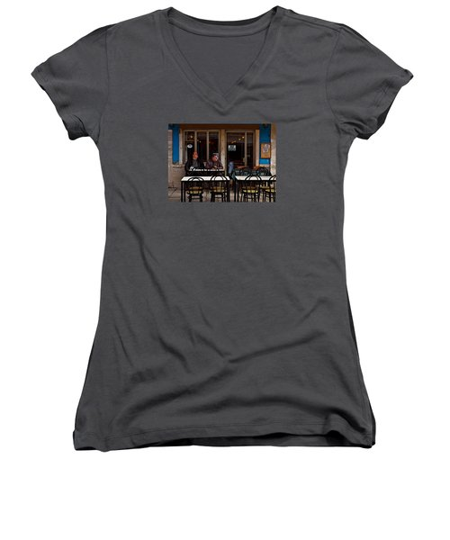 Women's V-Neck T-Shirt (Junior Cut) featuring the photograph Girl Watching by Laura Ragland