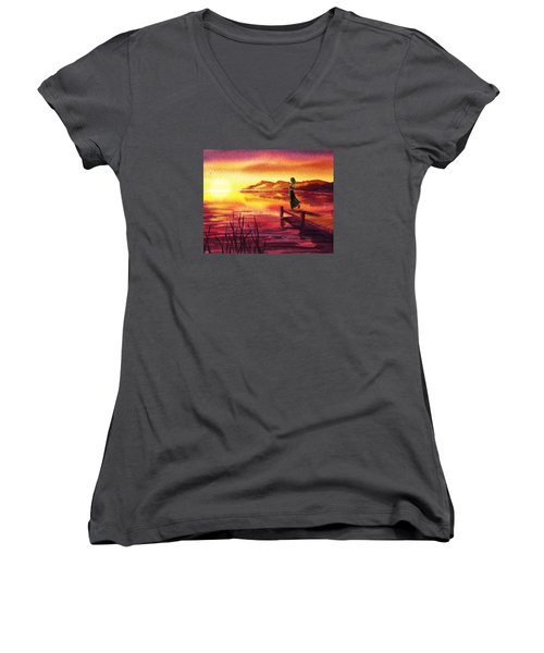 Women's V-Neck T-Shirt featuring the painting Girl Watching Sunset At The Lake by Irina Sztukowski