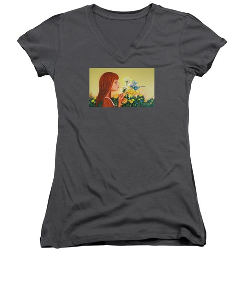 Girl With Flower Women's V-Neck T-Shirt (Junior Cut) by Rita Fetisov