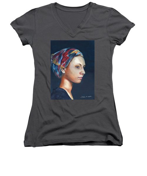 Girl With Headscarf Women's V-Neck