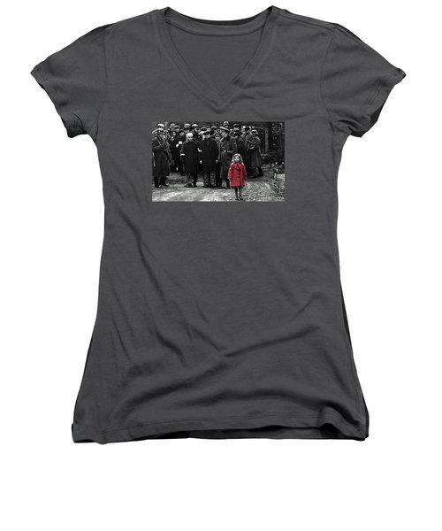 Girl With Red Coat Publicity Photo Schindlers List 1993 Women's V-Neck T-Shirt
