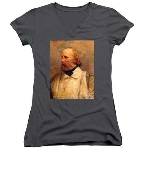 Women's V-Neck T-Shirt (Junior Cut) featuring the painting Giuseppe Garibaldi by Pg Reproductions
