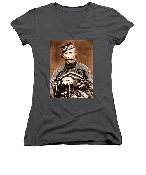 Giuseppe Garibaldi Women's V-Neck T-Shirt (Junior Cut) by Roberto Prusso