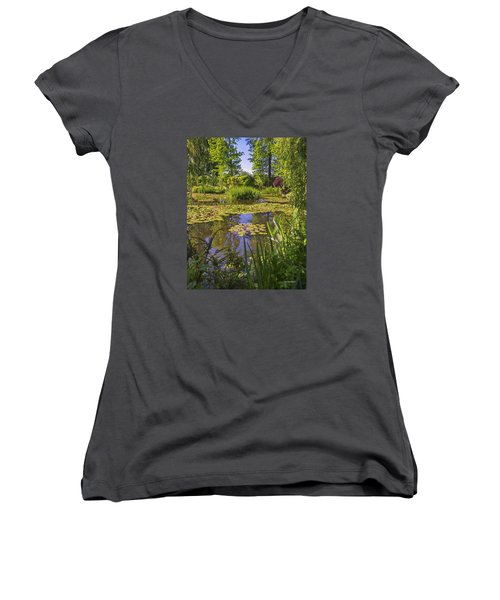 Women's V-Neck T-Shirt (Junior Cut) featuring the photograph Giverny France - Claude Monet's Pond  by Allen Sheffield