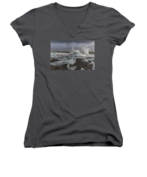 Women's V-Neck T-Shirt (Junior Cut) featuring the tapestry - textile Glacial Lagoon Iceland 2 by Kathy Adams Clark