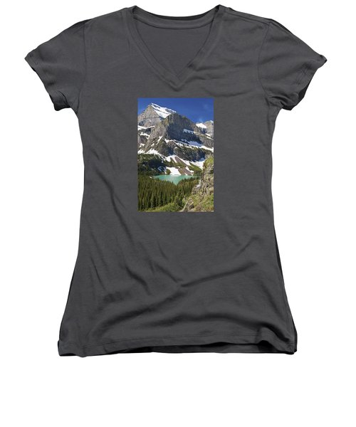 Glacier Backcountry Women's V-Neck T-Shirt (Junior Cut) by Gary Lengyel