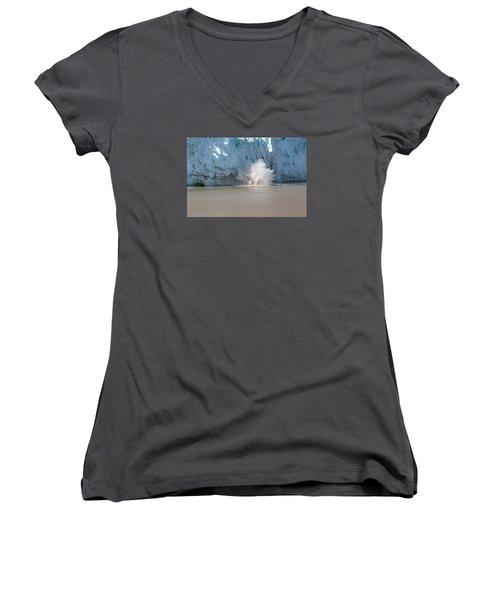 Glacier Calves Women's V-Neck T-Shirt (Junior Cut) by Allan Levin